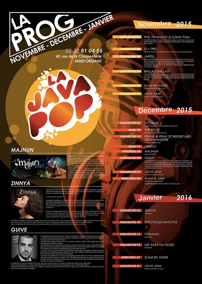 PROG NOV/DEC/JANV JAVA POP LIVE